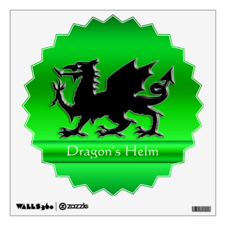 Embossed-look Black Dragon on green chrome-effect Wall Sticker