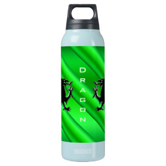 Embossed-look Black Dragons on green chrome-effect Insulated Water Bottle
