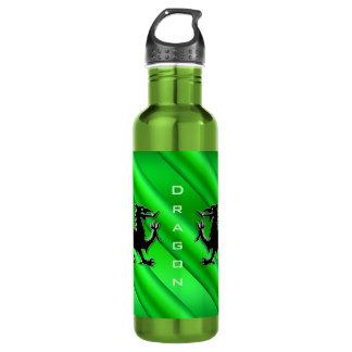 Embossed-look Black Dragons on green chrome-effect Water Bottle
