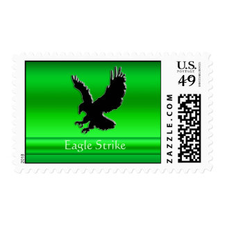 Embossed-look Black Eagle on green chrome-effect Postage Stamps