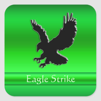 Embossed-look Black Eagle on green chrome-effect Square Sticker