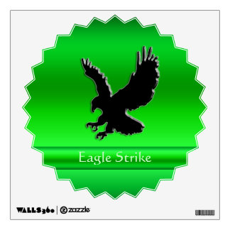 Embossed-look Black Eagle on green chrome-effect Wall Decal