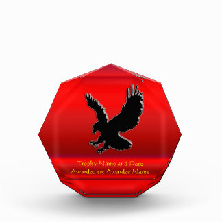 Embossed-look Black Eagle on red chrome-effect Award