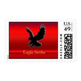Embossed-look Black Eagle on red chrome-effect Postage