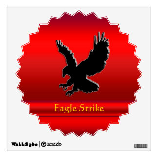 Embossed-look Black Eagle on red chrome-effect Wall Decal