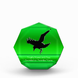 Embossed-look Black Raven on green chrome-effect Acrylic Award
