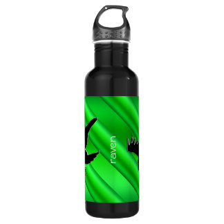 Embossed-look Black Raven on green chrome-effect Stainless Steel Water Bottle