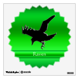 Embossed-look Black Raven on green chrome-effect Wall Sticker