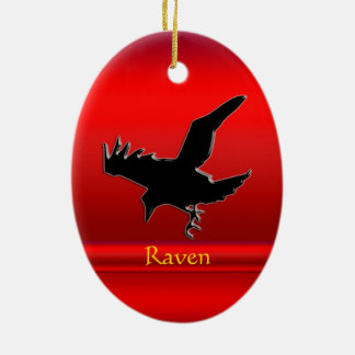 Embossed-look black Raven on red chrome-effect Double-Sided Oval Ceramic Christmas Ornament