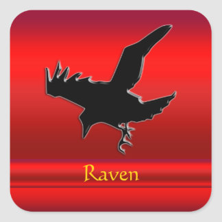 Embossed-look black Raven on red chrome-effect Square Sticker