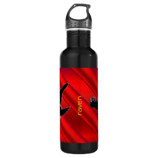 Embossed-look black Raven on red chrome-effect Stainless Steel Water Bottle