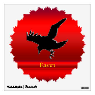 Embossed-look black Raven on red chrome-effect Wall Sticker