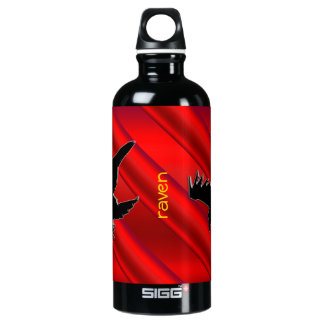 Embossed-look black Raven on red chrome-effect Water Bottle