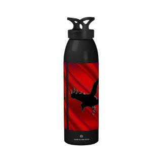 Embossed-look black Raven on red chrome-effect Water Bottles