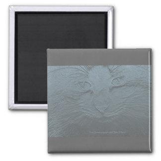 Embossed Look Blue Gray Cat Magnet