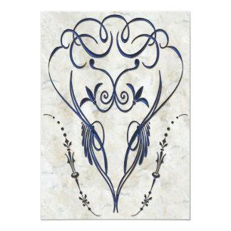 Embossed Look Blue Scroll Elegant Invitations