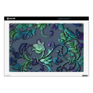 """Embossed Look Damask Blues Decal For 17"""" Laptop"""