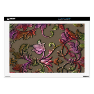 """Embossed Look Damask Brown Red Green Decal For 17"""" Laptop"""