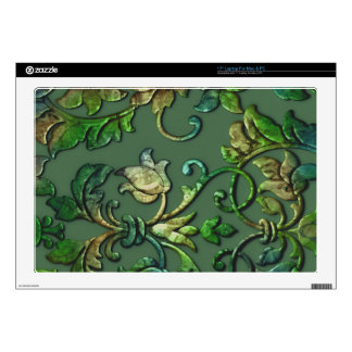 """Embossed Look Damask Greens Decal For 17"""" Laptop"""