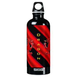 Embossed-look Dragon, red chrome-effect stripes Water Bottle