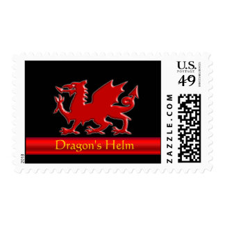 Embossed-look Dragon with red chrome-effect stripe Postage