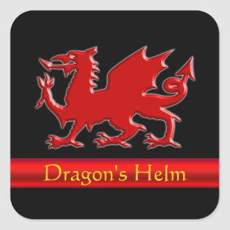 Embossed-look Dragon with red chrome-effect stripe Square Sticker