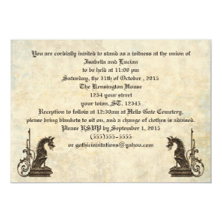 Embossed Look Dragons Goth Wedding Invitations