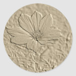 Embossed Look Gold Cosmos Flower Stickers