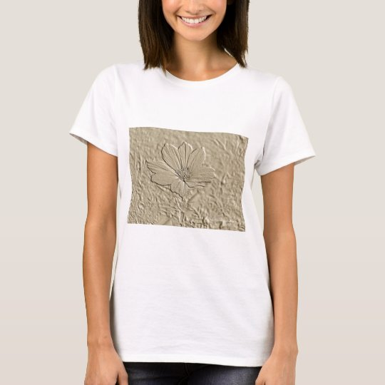 Embossed Look Gold Cosmos Flower: T-Shirt