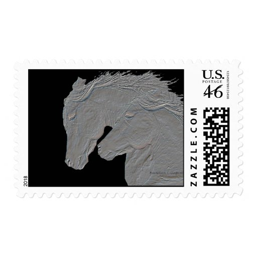 Embossed Look Horse Black Background Stamps