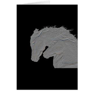 Embossed Look Horses Black background Card