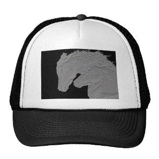 Embossed Look Horses Black background Trucker Hat