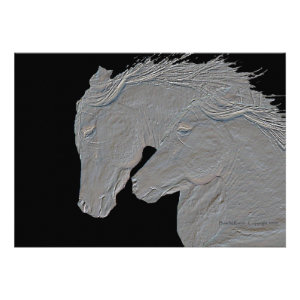Embossed Look Horses Black background Personalized Invites