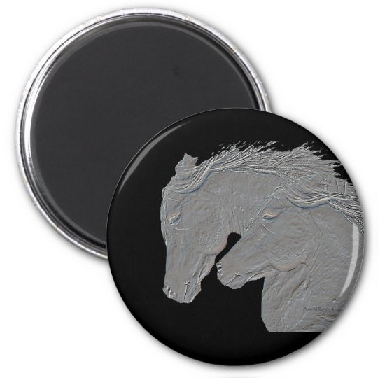 Embossed Look Horses Black background Magnet