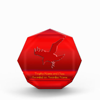 Embossed-look Raven on red chrome-effect Acrylic Award