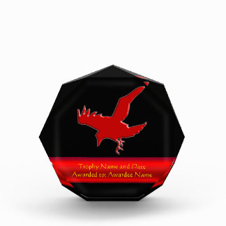 Embossed-look Raven with red chrome-effect stripe Acrylic Award