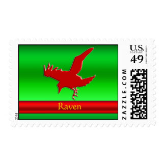 Embossed-look Raven with red chrome-effect stripe Stamp