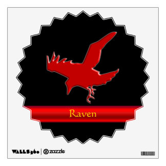 Embossed-look Raven with red chrome-effect stripe Wall Sticker