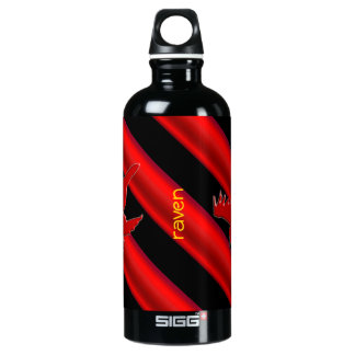 Embossed-look Raven with red chrome-effect stripe Water Bottle