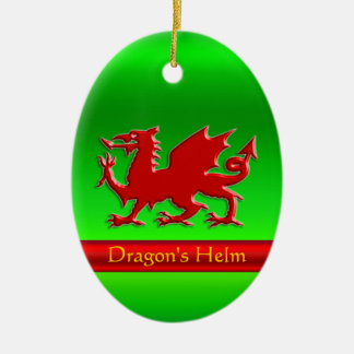Embossed-look Red Dragon on green chrome-effect Ceramic Ornament