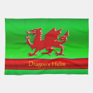 Embossed-look Red Dragon on green chrome-effect Kitchen Towel