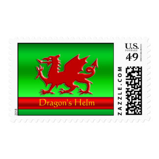 Embossed-look Red Dragon on green chrome-effect Postage