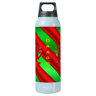 Embossed-look Red Dragon on green chrome-effect Thermos Bottle