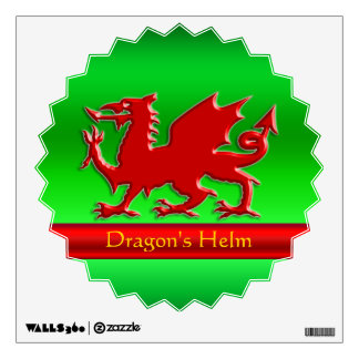 Embossed-look Red Dragon on green chrome-effect Wall Sticker