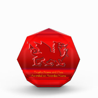 Embossed-look Red Dragon on red chrome-effect Award