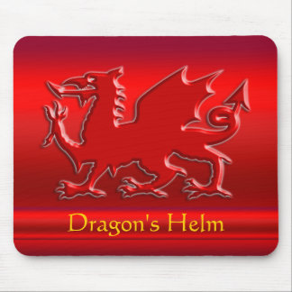 Embossed-look Red Dragon on red chrome-effect Mouse Pad