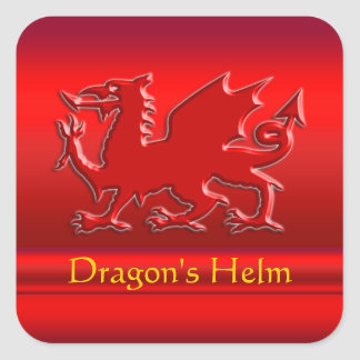 Embossed-look Red Dragon on red chrome-effect Square Sticker