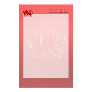 Embossed-look Red Dragon on red chrome-effect Stationery