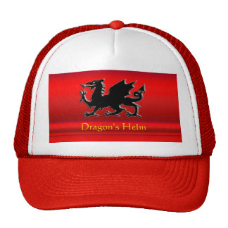 Embossed-look Red Dragon on red chrome-effect Trucker Hat