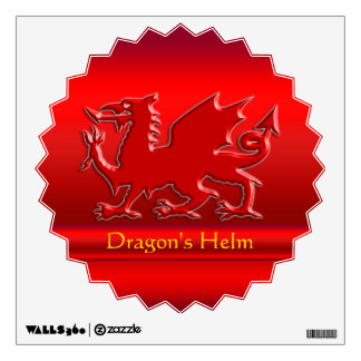 Embossed-look Red Dragon on red chrome-effect Wall Sticker